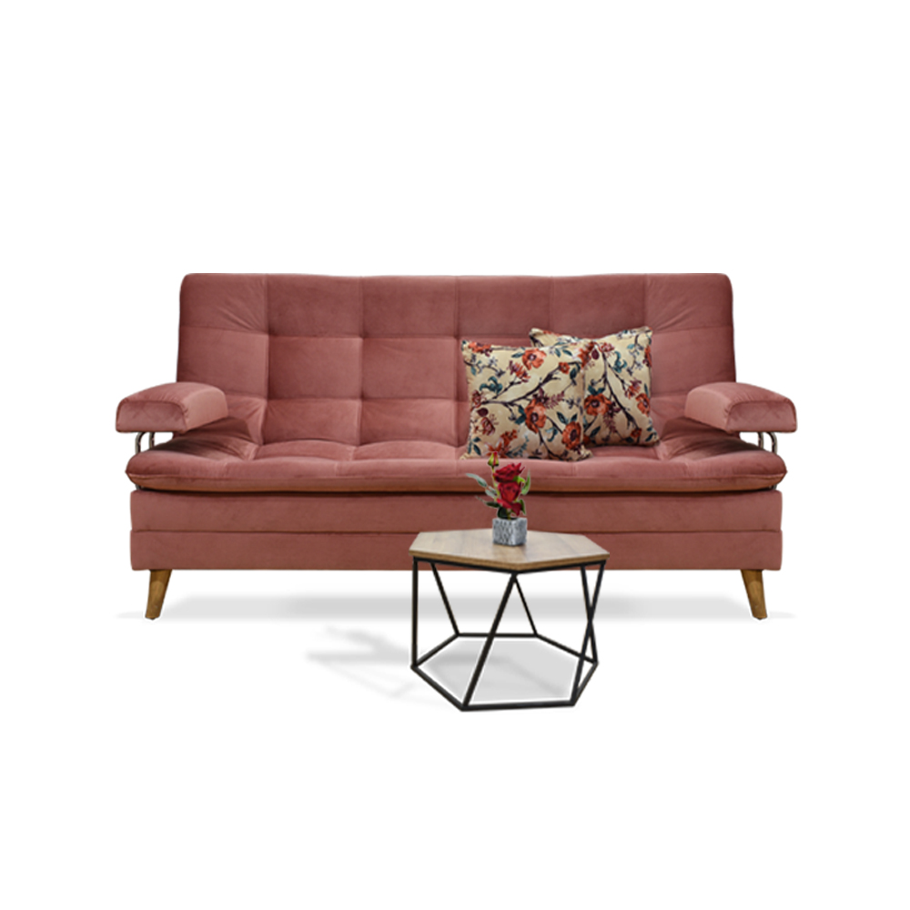 Sofa Cama Copper Rosa + Mesa De Centro Madison
